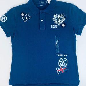 Polo Ralph Lauren Nautical Patch Blue Polo Shirt S